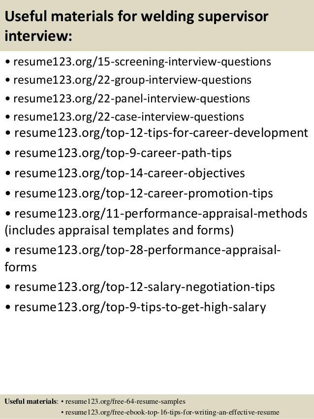 top 8 welding supervisor resume samples