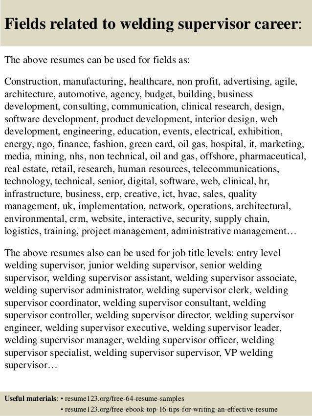 top 8 welding supervisor resume sles