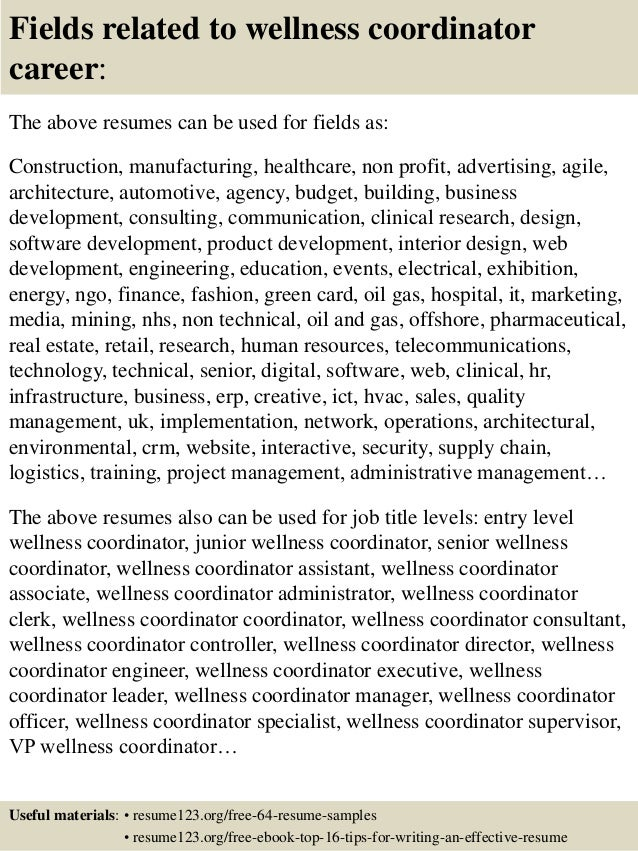 ... 16. Fields Related To Wellness Coordinator Career: The Above Resumes ...