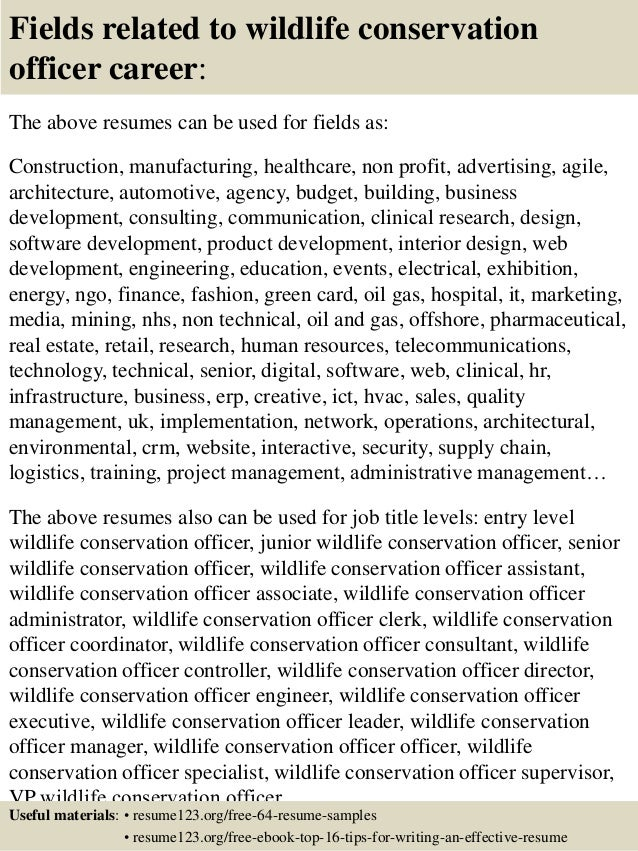 Top 8 wildlife conservation officer resume samples