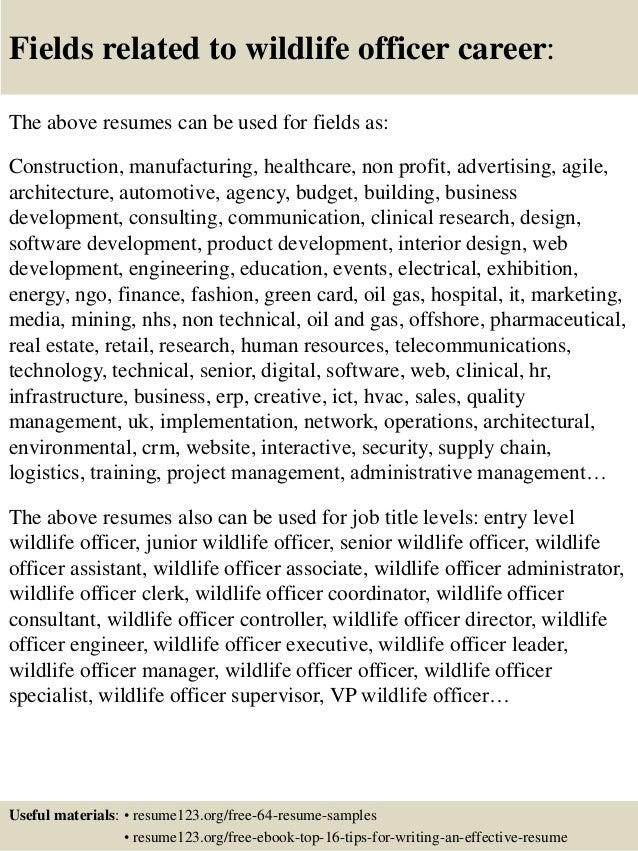 top 8 wildlife officer resume sles