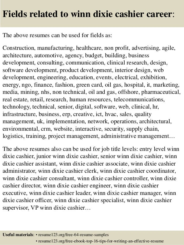 Top 8 winn dixie cashier resume samples