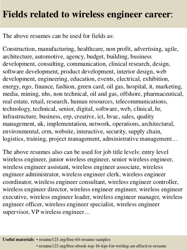 top 8 wireless engineer resume sles