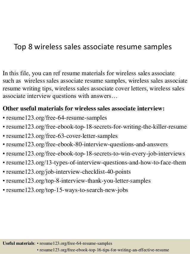 top 8 wireless sales associate resume samples