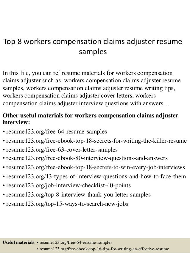 top 8 workers compensation claims adjuster resume samples in this file you can ref resume - Workers Compensation Specialist Sample Resume