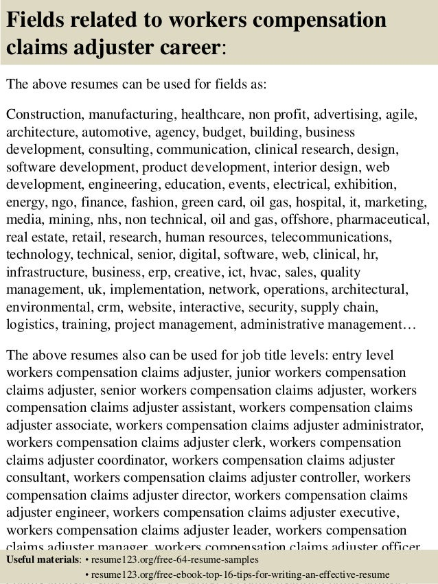 top 8 workers compensation claims adjuster resume samples