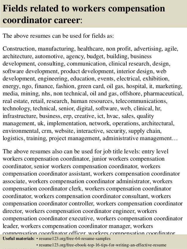 16 fields related to workers compensation - Workers Compensation Specialist Sample Resume