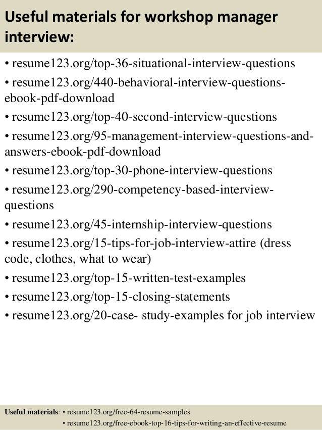 Top 8 workshop manager resume samples