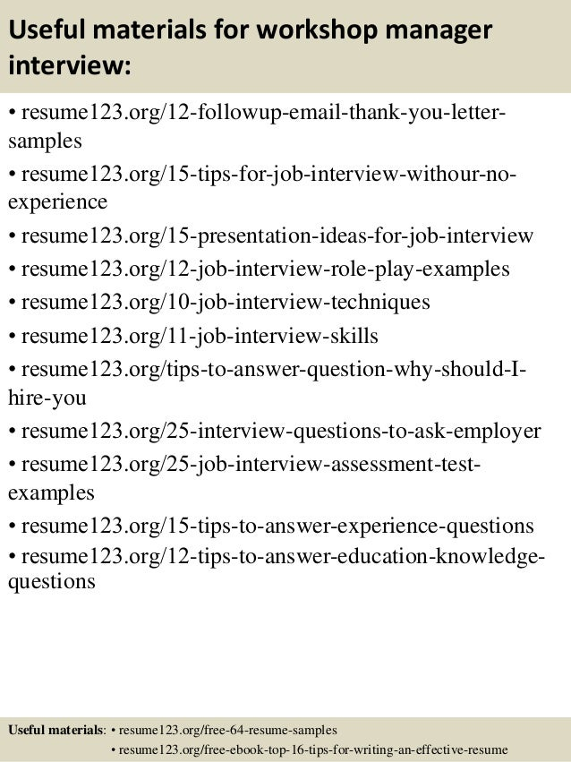 Top 8 workshop manager resume samples 14 useful materials for workshop manager yelopaper Gallery