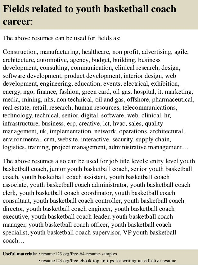 Top 8 youth basketball coach resume samples