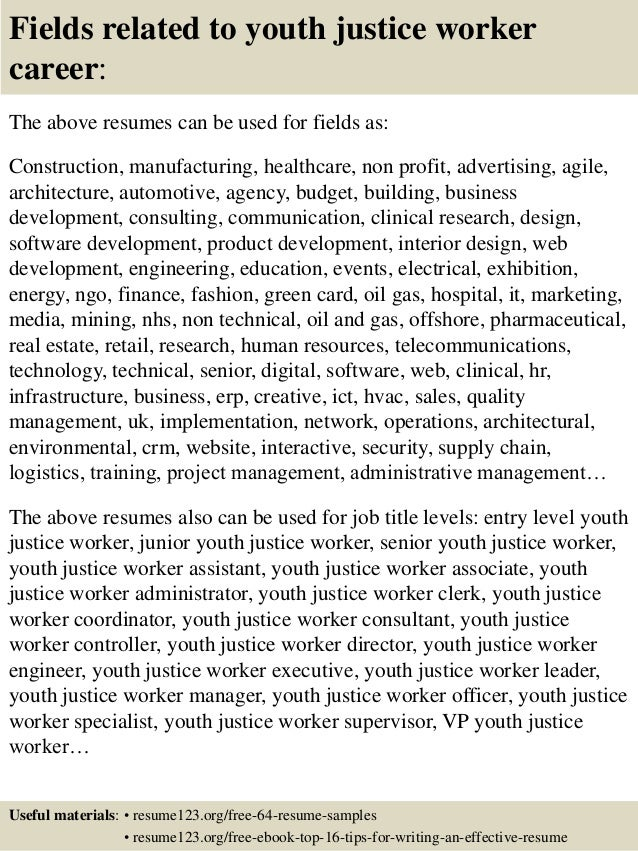 16 fields related to youth justice worker - Youth Worker Cover Letter