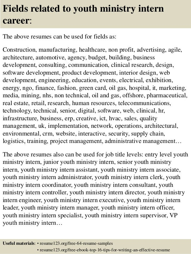 16 fields related to youth ministry - Sample Resume For Youth Ministry