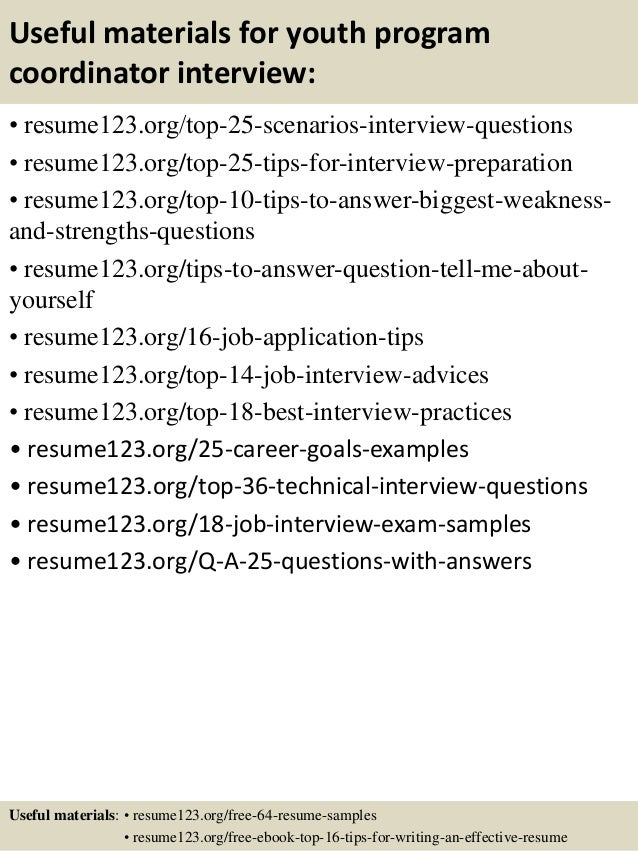 13 useful materials for youth program coordinator - Sample Youth Program Coordinator Resume Example