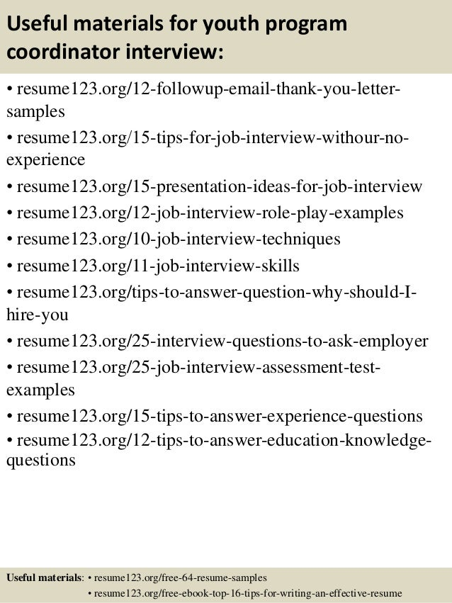 14 useful materials for youth program coordinator - Sample Youth Program Coordinator Resume Example