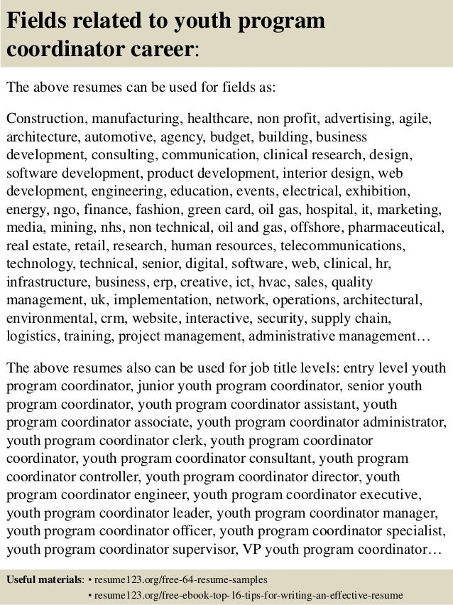 Top 8 youth program coordinator resume samples