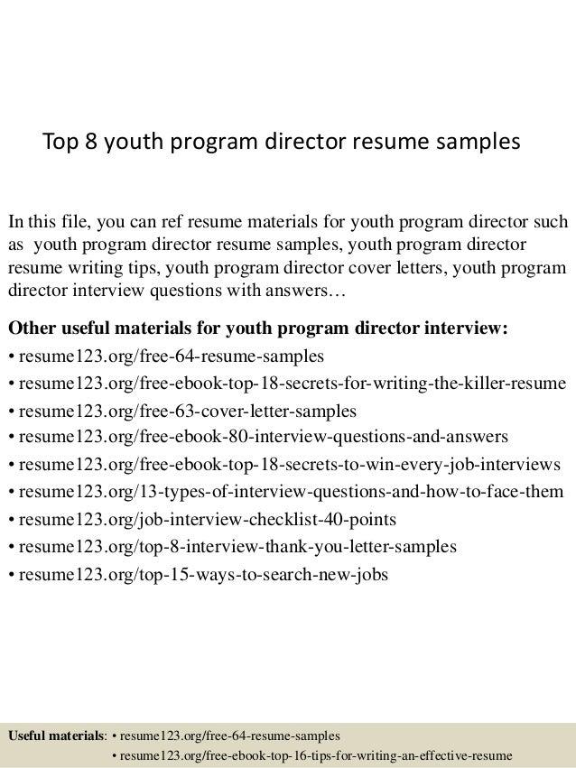 top 8 youth program director resume samples