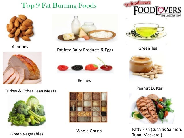 Top 9 Fat Burning Foods  Almonds  Fat free Dairy Products & Eggs  Green Tea  Berries Peanut Butter  Turkey & Other Lean Me...