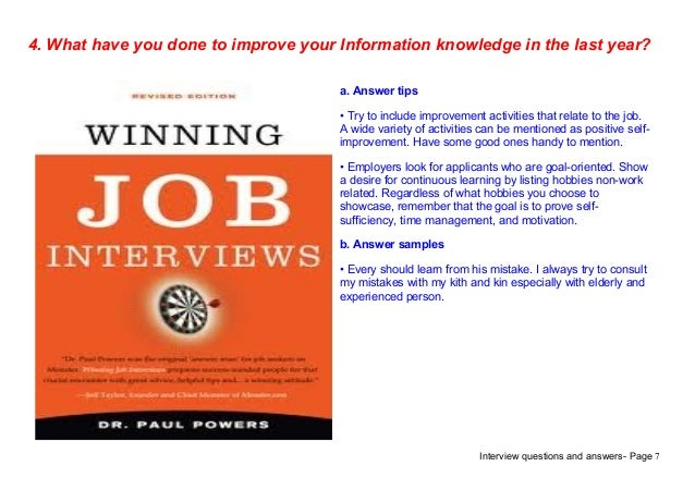 Top 9 information interview questions answers