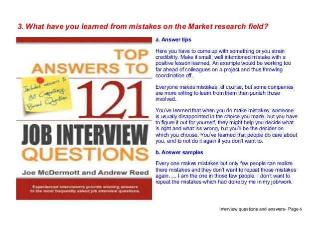 Top 9 market research interview questions answers