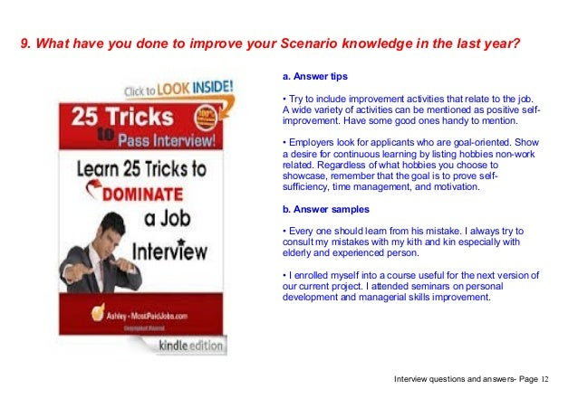 scenario interview questions and answers