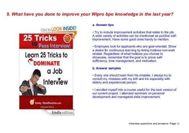 Top 9 wipro bpo interview questions answers