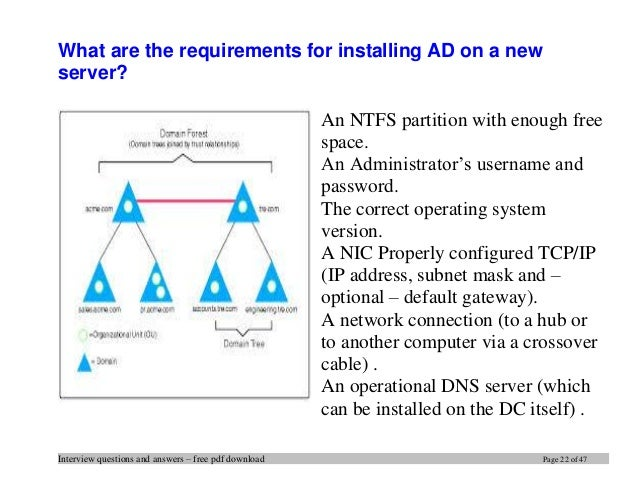 Active Directory Interview Questions Answers Pdf