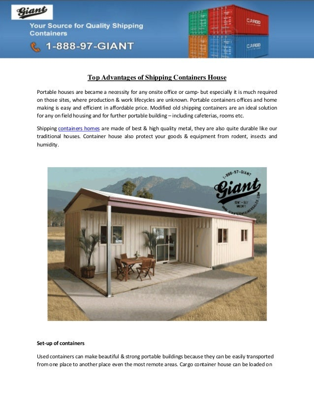Top Advantages of Shipping Containers House Portable houses are became a  necessity for any onsite office ...