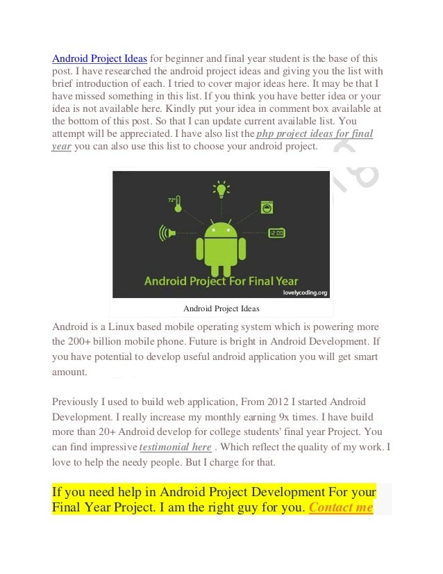 Top Android Project Ideas for Final Year