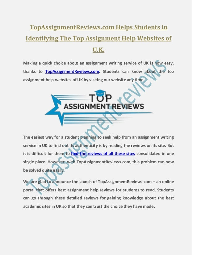 TopAssignmentReviews.com Helps Students in Identifying The Top Assignment Help Websites of U.K. Making a quick choice abou...