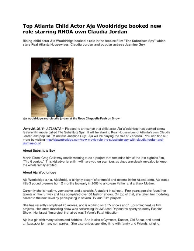 Top Atlanta Child Actor Aja Wooldridge booked new role starring RHOA own Claudia Jordan Rising child actor Aja Wooldridge ...