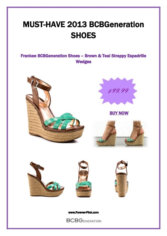 www.Forever-Pink.com MUST-HAVE 2013 BCBGeneration SHOES Frankee BCBGeneration Shoes – Brown & Teal Strappy Espadrille Wedg...
