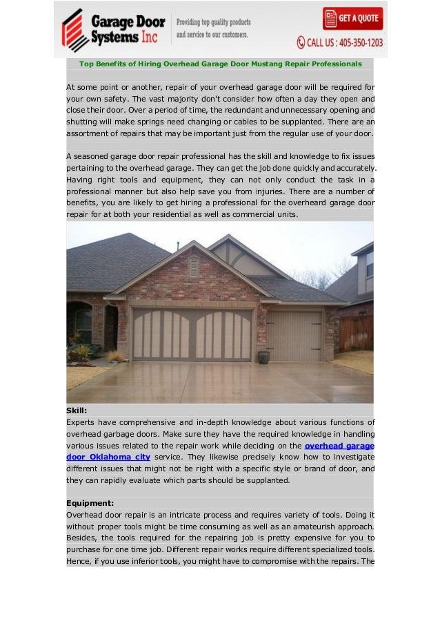 Top Benefits Of Hiring Overhead Garage Door Mustang Repair Profession