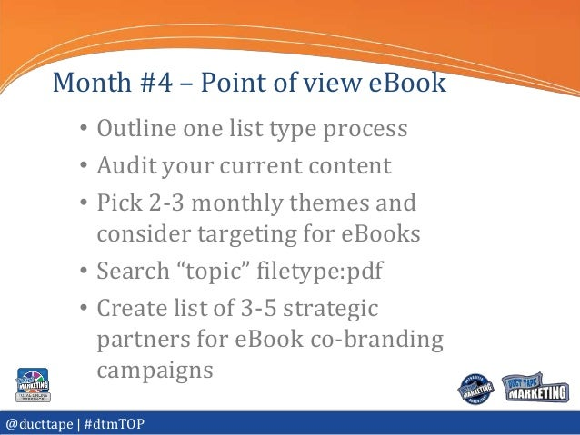 Month #4 – Point of view eBook          • Outline one list type process          • Audit your current content          • P...