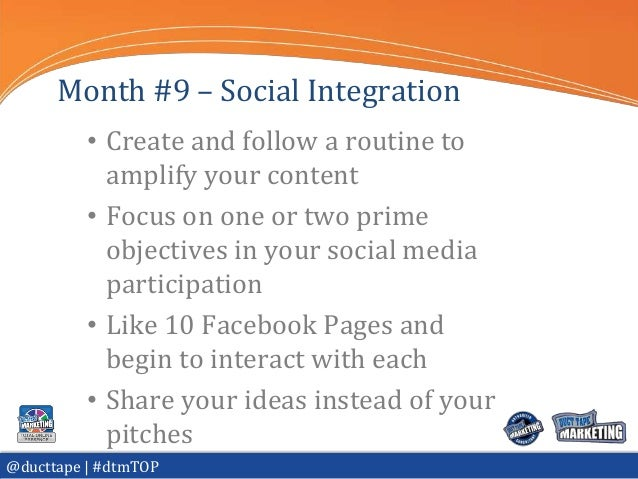 Month #9 – Social Integration          • Create and follow a routine to            amplify your content          • Focus o...