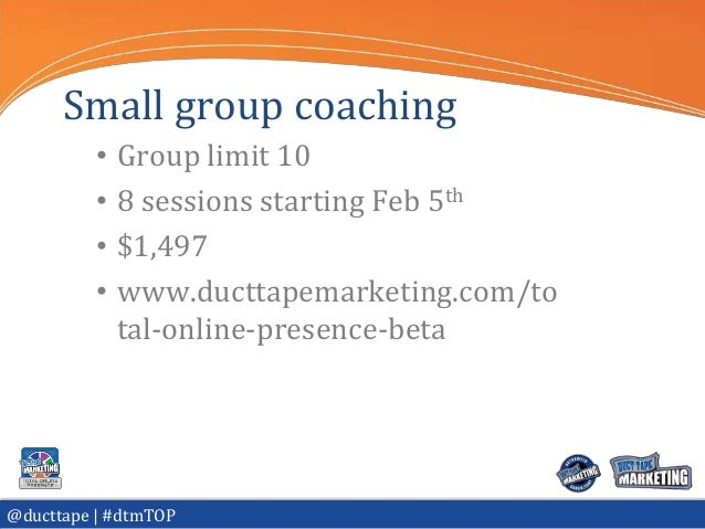 Small group coaching          •   Group limit 10          •   8 sessions starting Feb 5th          •   $1,497          •  ...