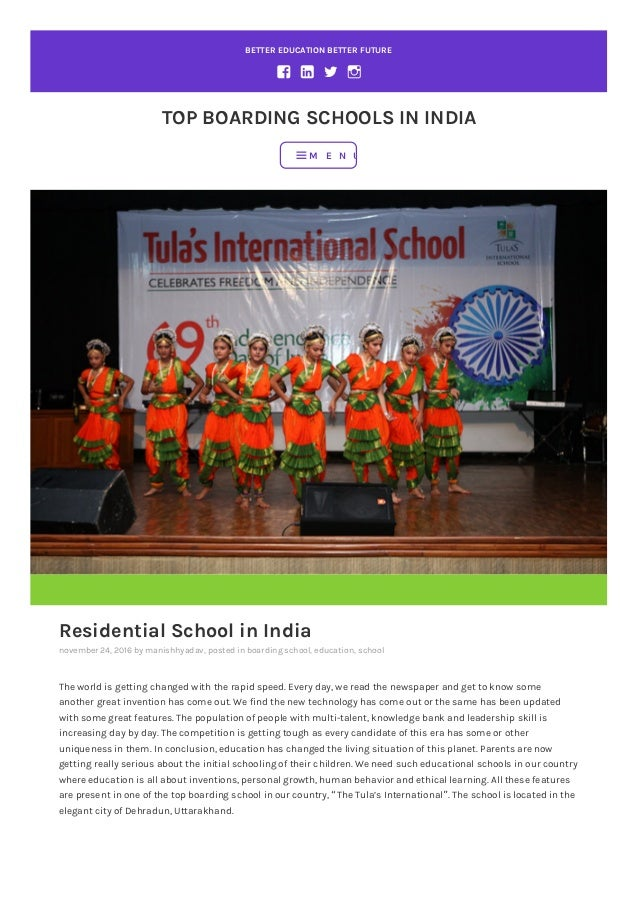 BETTER EDUCATION BETTER FUTURE TOP BOARDING SCHOOLS IN INDIA Residential School in India november 24, 2016 by manishhyadav...