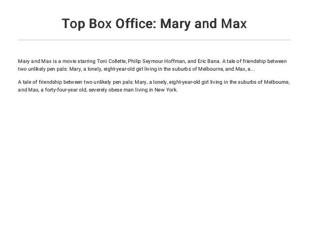 Top Box Office Mary And Max