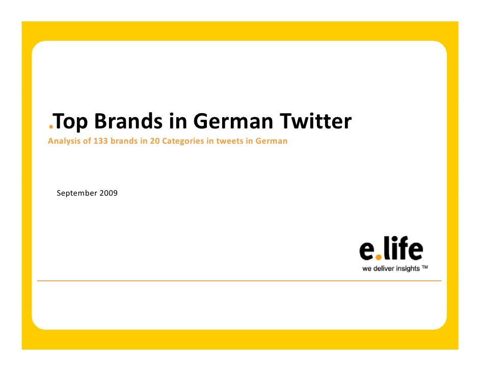 .Top Brands in German Twitter Analysis of 133 brands in 20 Categories in tweets in German       September 2009