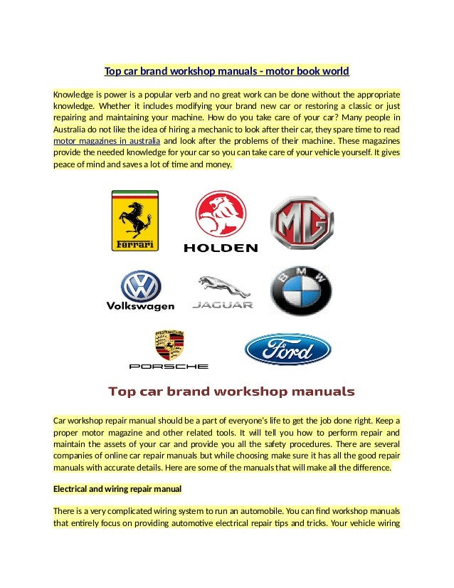 top car brand workshop manuals motor book world rh slideshare net best auto repair manual Auto Repair Manuals Online