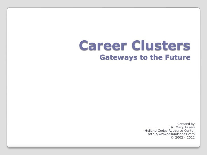 Career Clusters  Gateways to the Future                                Created by                           Dr. Mary Askew...