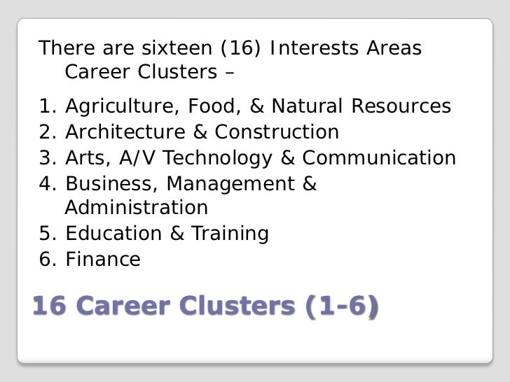 There are sixteen (16) Interests Areas  Career Clusters –1. Agriculture, Food, & Natural Resources2. Architecture & Constr...