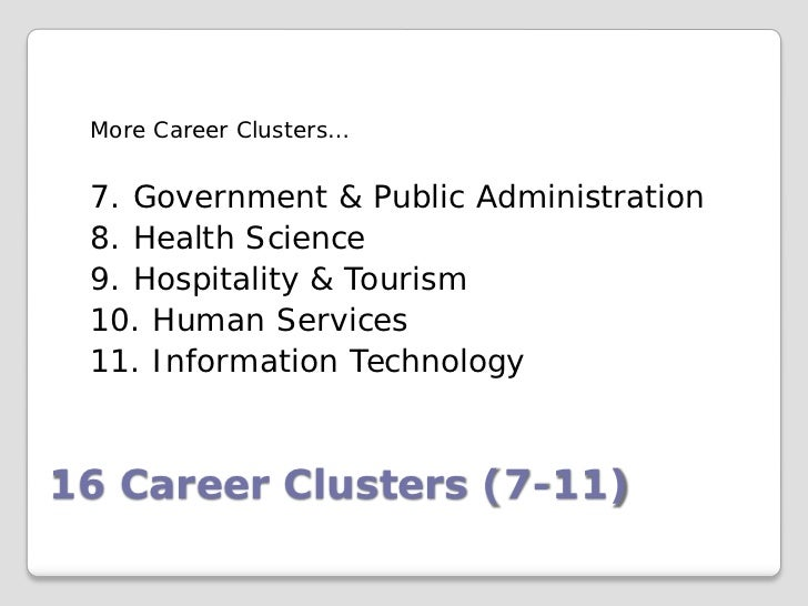 More Career Clusters… 7. Government & Public Administration 8. Health Science 9. Hospitality & Tourism 10. Human Services ...