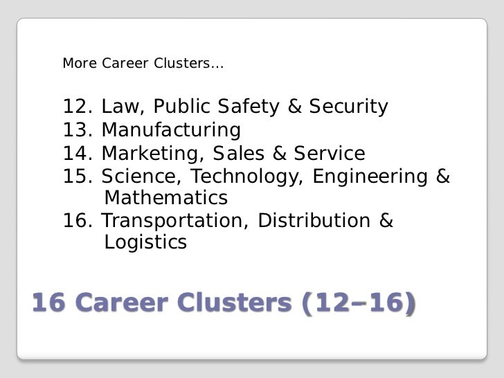 More Career Clusters…  12. Law, Public Safety & Security  13. Manufacturing  14. Marketing, Sales & Service  15. Science, ...