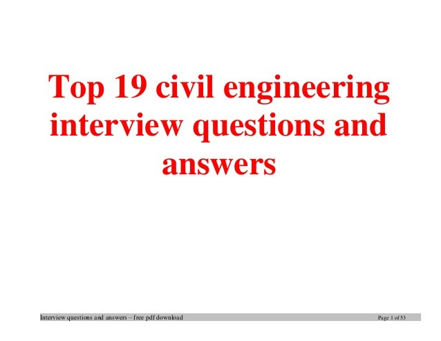 Great Interview Questions And Answers U2013 Free Pdf Download Page 1 Of 53 Top 19  Civil Engineering ...