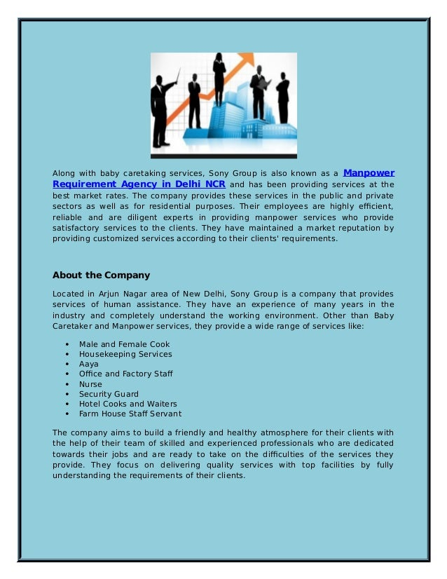 Top Class Baby Caretaker and Manpower Services by Sony Group