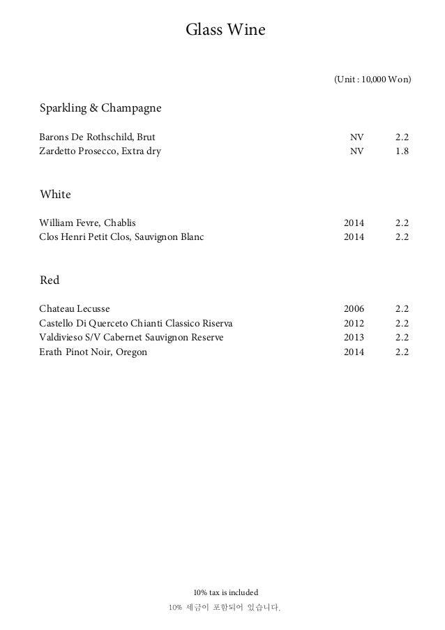 Sparkling & Champagne Barons De Rothschild, Brut NV 2.2 Zardetto Prosecco, Extra dry NV 1.8 White William Fevre, Chablis 2...