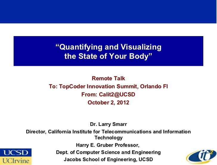 """Quantifying and Visualizing              the State of Your Body""                        Remote Talk         To: TopCoder ..."