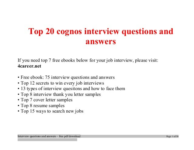 Top cognos interview questions and answers job interview tips