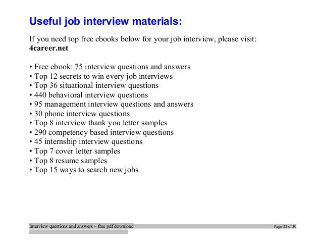 Interview Questions And Answers U2013 Free Pdf Download Page 21 Of 30; 22. Regarding Resume Interview Questions