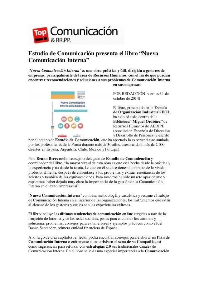 """Estudio de Comunicación presenta el libro """"Nueva Comunicación Interna""""  'Nueva Comunicación Interna' es una obra práctica ..."""